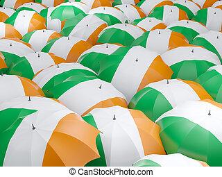 Umbrellas with flag of ireland