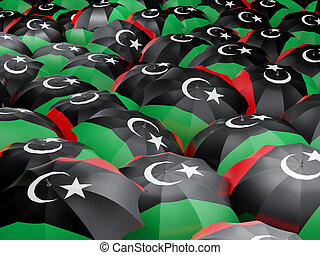 Umbrellas with flag of libya