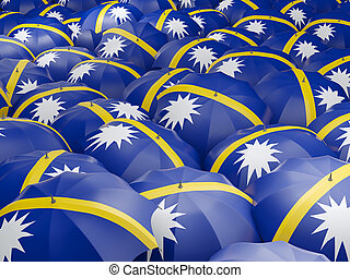 Umbrellas with flag of nauru