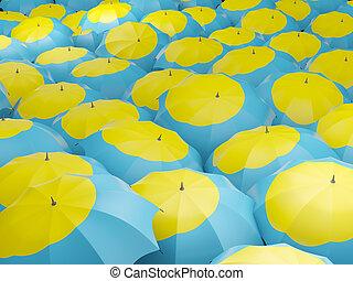 Umbrellas with flag of palau