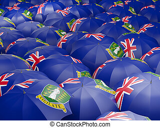 Flag of virgin islands british on umbrella. 3D illustration