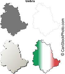 Umbria blank detailed outline map set