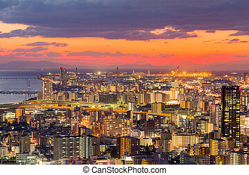 Umeda city downtown skyline with sunset sky