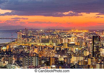 Umeda city downtown skyline with sunset sky
