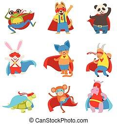 umhänge, satz, tiere, angezogene , masken, superhelden
