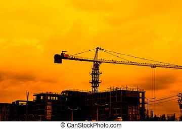 umieszczenie zbudowania, żuraw