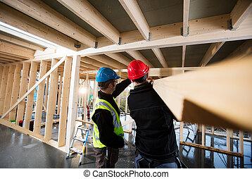 umieszczenie zbudowania, pracujący, wykonuje zawód cieśli
