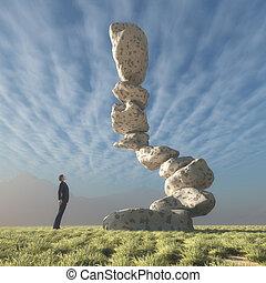 umieszczony, balance., człowiek, spojrzenia, trzęsie się