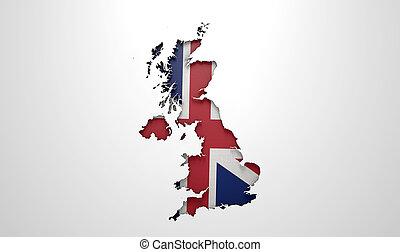 umieszczony, kraj, mapa, britain