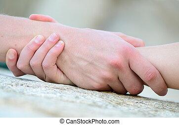 umklammert, hilfe, hand