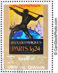 umm, al-quwain, -, environ, 1972:, a, timbre, imprimé, dans,...