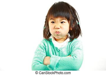 umore difettoso, giapponese, piccola ragazza