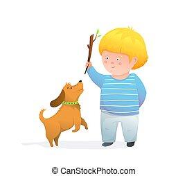 umore, felice, gioioso, sorridente, capretto, ragazzo, illustration., bambini, saltare, lancio, bastone, cucciolo