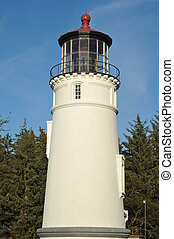Umpqua Lighthouse with Blue Sky