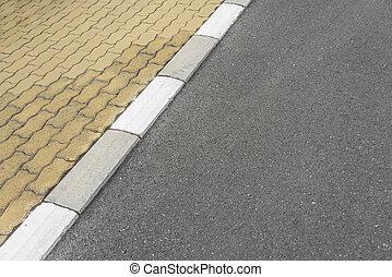 umrandungen, asphalt, road., bürgersteig