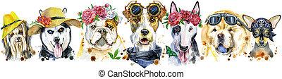 umrandungen, dekoration, aquarell, hunden, porträts