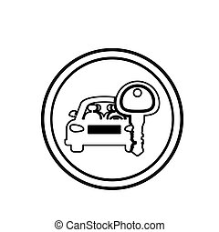 umrandungen, kreisförmig, silhouette, schlüssel, auto