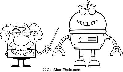 umrissen, roboter, professor