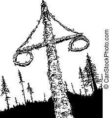 umrissen, schwedische , midsummer, maibaum, und, wälder