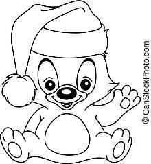 umrissen, weihnachten, winkende , teddybär