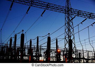 umspannwerk, elektrisch, silhouette