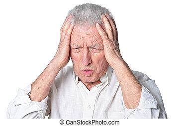 umsturz, älterer mann, in, ungezwungene kleidung, posierend