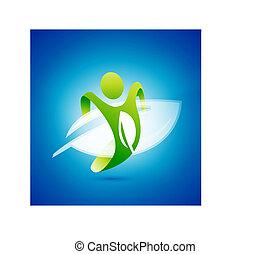 umwelt, begriff, ökologie, symbol., mann