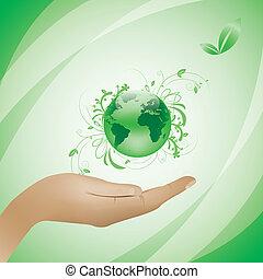 umwelt, begriff, grüner hintergrund