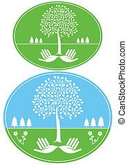 Umwelt, geschützt, zeichen