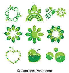 umwelt, logos, vektor, gesundheit, sammlung
