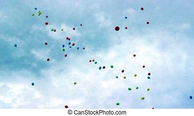 umwelt, luftballone, bunte, sky., ökologie, fliegen, ...