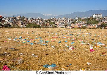 umwelt, probleme, in, kathmandu., umwelt, pollution.