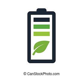 umweltsmäßig freundlich, batterie, logo