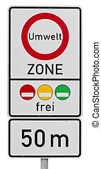 umweltzone -  german traffic sign (clipping path included)