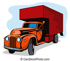 umzugsunternehmen, lastwagen, weinlese, retro