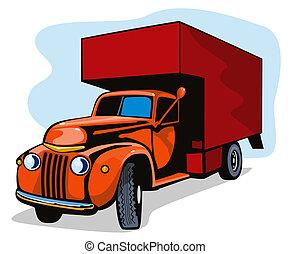 umzugsunternehmen, weinlese, lastwagen, retro