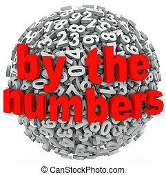 un, 3d, esfera, de, números, a, ilustrar, aprendizaje, matemáticas, o, contabilidad, con, un, lío, de, figuras