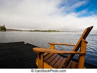 un, adirondack sillón de la presidencia, en, el, lago