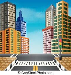 un, agradable, vista, de, un, ciudad, con, edificio alto