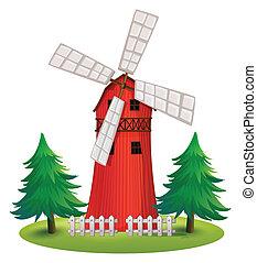 un, alto, de madera, edificio, con, un, molino de viento