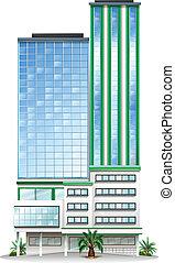 un, alto, edificio comercial