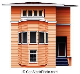 un, alto, marrón, edificio