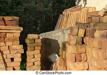 un altro, casa, mattoni, mucchio, argilla, mucchi, riposare, vecchio, albero, tegole, fondo
