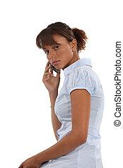 un, americano africano, donna d'affari, su, il, telefono.