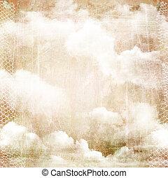 un, astratto, vendemmia, struttura, fondo, con, clouds.