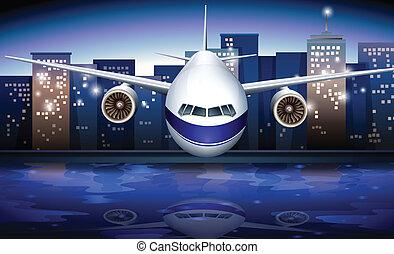 un, avión, cerca, el, alto, edificios
