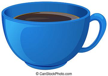 un, azul, taza, con, café