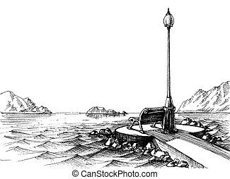 un, banco, por, el, mar, vista marina, bosquejo