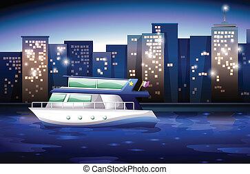 un, barco, a través de, el, alto, edificios