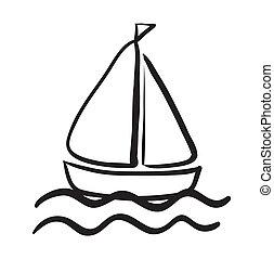 un, barco, bosquejo
